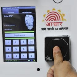 Employees mark their attendance through an Aadhaar-based system in the Planning Commission.