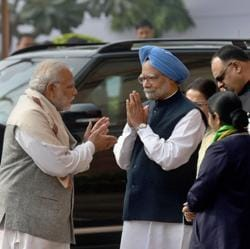 Prime Minister Narendra Modi, former PM Manmohan Singh and Congress president Sonia Gandhi at Parliament House in New Delhi on Wednesday.