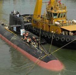 The Scorpene-class submarine INS Kalvari at the naval dockyard in Mumbai.