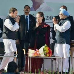 Newly elected Congress president Rahul Gandhi greets his mother and predecessor Sonia Gandhi, and former prime minister Manmohan Singh in New Delhi on Saturday.
