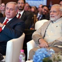 Prime Minister Narendra Modi with his Israeli counterpart Benjamin Netanyahu at the Raisina Dialogue in New Delhi on Tuesday.