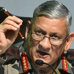 Indian Army chief General Bipin Rawat addresses a press conference in New Delhi.