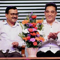 Kamal Haasan with Delhi chief minister Arvind Kejriwal during the launch his political party in Madurai.