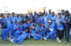 India's blind cricket team poses with team officials at the Sharjah stadium in Dubai, after winning the World Cup in January. Ours is the only team, apart from Pakistan's, to have won the Blind Cricket World Cup twice.