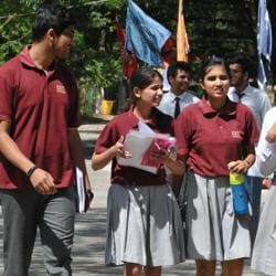 Students coming out of Kendriya Vidyalaya No2 after appearing in CBSE Class 12 computer science exam in Bhopal on Friday.