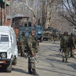 Soldiers near the site of gunfight in Kulgam. There have been several reports in the past of youth missing and social media posts claiming  they have joined Hizbul Mujahideen. Police are now keeping a close tab on such cases.