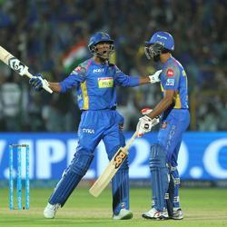 Gowtham Krishnappa of the Rajasthan Royals celebrates their win in the Indian Premier League 2018 (IPL 2018) against Mumbai Indians at the Sawai Mansingh Stadium in Jaipur on Sunday.
