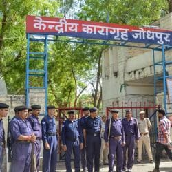Security force deployed outside Jodhpur Central Jail ahead of the court's verdict on Asaram's sexual assault case on Tuesday.