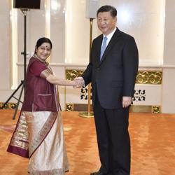 External affairs minister Sushma Swaraj (left) with Chinese President Xi Jinping before a meeting at the Great Hall of the People in Beijing on Monday.