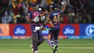 Riding on Mahendra Singh Dhoni's fiery half-century, Rising Pune Supergiant clinched a last-ball thriller vs Sunrisers Hyderabad by four wickets to climb to fourth spot in IPL 2017 standings. Get full cricket score of RPS vs SRH here(BCCI)