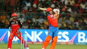 Aaron Finch hits a six during match 31 of 2017 Indian Premier League between Royal Challengers Bangalore and Gujarat Lions at the M.Chinnaswamy Stadium. Get full cricket score of RCB vs GL here(BCCI)