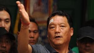 Bimal Gurung takes part in a news conference in Darjeeling.(AFP Photo)