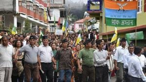 GJM supporters take out a rally to demand for separate state 'Gorkhaland' during a protest in Darjeeling on june 21, 2017(PTI)