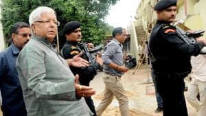 RJD president Lalu Prasad comes out of the special CBI court in Ranchi after appearing in connection with a fodder scam case on Friday, July 7, 2017. (Parwaz Khan/ HT Photo)