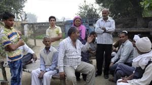 Family members said Gyanendra Singh was home on a 15-day holiday. He was allegedly shot by his neighbour.(Sunil Ghosh/HT Photo)