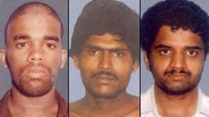 A combination picture of Murugan-Santhan-and-Perarivalan, convicts in the Rajiv Gandhi assassination case.(Agencies Photo)
