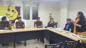 The programme was inaugurated by inspector general (Meerut) Ram Kumar and it was attended by SSP Love Kumar, SP (rural) Suniti and SP (crime) Preeti Bala, among other police officials.(HT Photo)