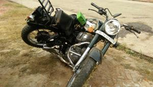 The motorcycle that the 22-year-old was riding on.(HT Photo)