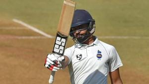Delhi's batsman Himmat Singh celebrates after completing his half century during the Ranji Trophy final between Delhi and Vidarbha in Indore on Friday.(PTI)