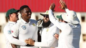 Lungi Ngidi celebrates the wicket of Rohit Sharma on Day 5 of the second Test between South Africa and India at Centurion. Get highlights of IND vs SA, 2nd Test here(BCCI)