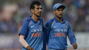 The rise of Yuzvendra Chahal (L) and Kuldeep Yadav has pleased former Pakistan cricket team skipper Mohammad Hafeez.(AFP)