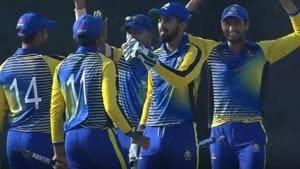 Karnataka defeated Saurashtra by 41 runs to win the Vijay Hazare Trophy at the Ferozshah Kotla Stadium in New Delhi on Tuesday.(Photo: Hotstar screengrab)