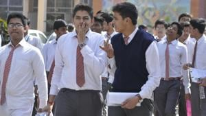 Students of CBSE board Class 10 coming out from the examination centre after appearing in Hindi paper at Central Academy in Lucknow, UP on Tuesday.(Deepak Gupta/Hindustan Times)