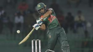 Bangladesh captain Mahmudullah plays a shot during their Twenty20 International against India in the Nidahas triangular series in Colombo on Thursday.(AP)