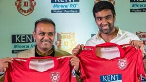 Kings XI Punjab mentor Virender Sehwag and captain Ravichandran Ashwin unveil their team jersey for IPL 2018 in New Delhi on Tuesday.(PTI)