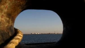 A general view of an oil dock from a ship at the port of Kalantari in the city of Chabahar in the Sistan-Balochistan province.(Reuters File Photo)