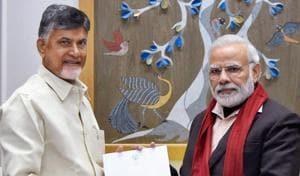 Prime Minister Narendra Modi with TDP chief N Chandrababu Naidu in New Delhi.(PTI File Photo)