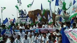 Members of various political parties in a protest rally demand for special status for Andhra Pradesh on Thursday.(HT Photos)