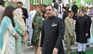 Pakistan's envoy to India Sohail Mahmood during the Pakistan National Day celebrations at Pakistan High Commission in New Delhi on Friday.(PTI)