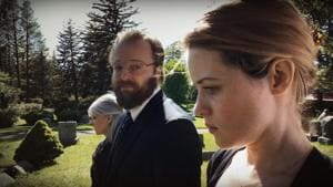 Joshua Leonard and Claire Foy in a still from Unsane.
