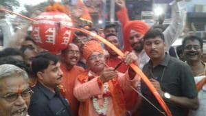 Bengal BJP president Dilip Ghosh with bow and arrow at a Ram Navami rally in Kharagpur on Sunday.(HT Photo)