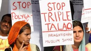 A 2017 file photo of activists of Joint Movement Committee protesting on the issue of 'Triple Talaq' in New Delhi.(PTI)