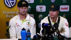 Australian cricket team captain Steve Smith (R) and Cameron Bancroft admitted to ball-tampering during the third Test against South Africa in Cape Town.(AFP)