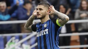 Inter Milan's Mauro Icardi, celebrates after scoring his side's third goal during the Serie A match between Inter Milan and Hellas Verona at the San Siro stadium in Milan, Italy on Saturday, March 31, 2018.(AP)