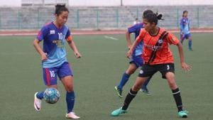 Bala Devi (L) scored a brace as KRYHPSA defeated India Rush SC 2-0 in the Indian Women's League in Shillong on Monday.(AIFF)