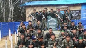 Members of Hmar People's Convention-Democratic (HPC-D), which has signed a peace deal with Mizoram government.(HT Photo)