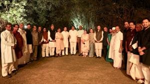 Leaders from various political parties at a dinner organised by Congress president Rahul Gandhi and Sonia Gandhi, Janpath, New Delhi, March 13, 2018(AICC/HT)