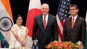 External affairs minister Sushma Swaraj with US secretary of state Rex Tillerson and Japanese foreign minister Taro Kono at the Palace Hotel in New York on September 18, 2017. Senior officials from the three countries held talks in accordance with the directions given by the foreign ministers, who met in New York on September 18.(PTI File photo)