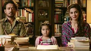 Irrfan Khan and Saba Qamar in a still from Hindi Medium.