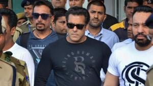 Actor Salman Khan leaves from Jodhpur airport to appear in the chief judicial magistrate court in the 1998 Blackbuck hunting case, in Jodhpur on Wednesday.(PTI)