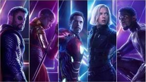 Thor, Okoye, Iron Man, Black Widow and Black Panther on their respective new character posters.(Marvel Entertainment)