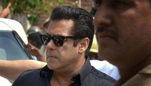 Bollywood actor Salman Khan arrives at the court for a hearing in the Black Buck hunting case, in Jodhpur.(PTI)