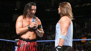 The rivalry between Shinsuke Nakamura (L) and AJ Styles has featured plenty of mind games but very little acrimony between the two superstars.(WWE)
