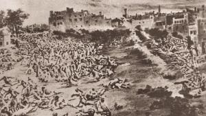A painting depicting the Jallianwala Bagh massacre on April 13, 1919.(HT Archives)