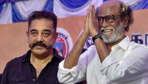 Rajinikanth, with fellow actor-turned-politician Kamal Haasan at a protest in support of ongoing agitations in Tamil Nadu.(PTI Photo)