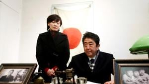 Japan's Prime Minister Shinzo Abe and his wife Akie Abe visit a former home of Chiune Sugihara, a Jew-saving Japanese diplomat, in Kaunas, Lithuania January 14, 2018.(Reuters File)